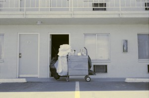 Housekeeping Cart in Front of Motel Room