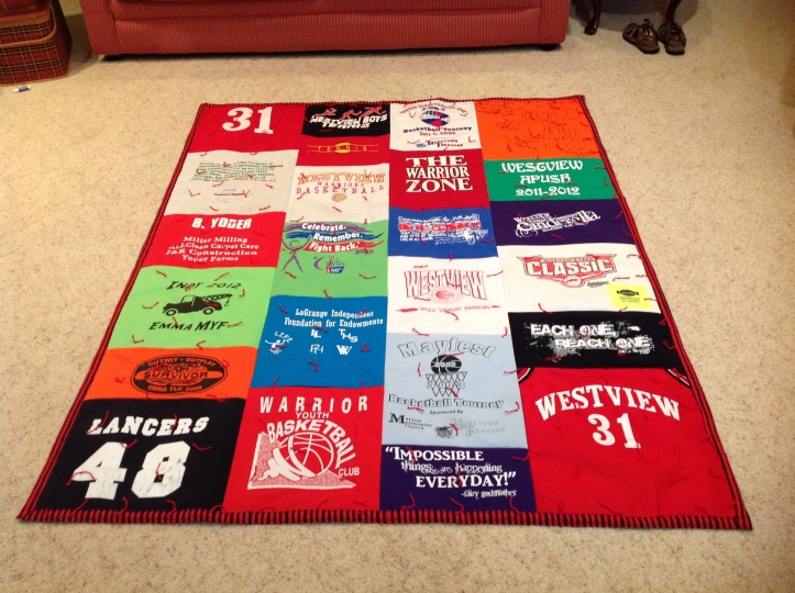 A t-shirt quilt I made for my son whose graduating.
